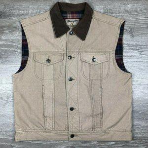 Wrangler Plaid Flannel Lined Canvas Khaki Vest